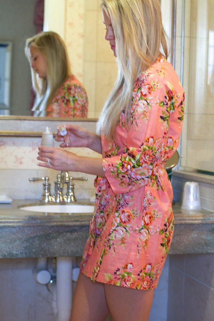 Coral Floral Posy Robes for bridesmaids | Getting Ready Bridal Robes