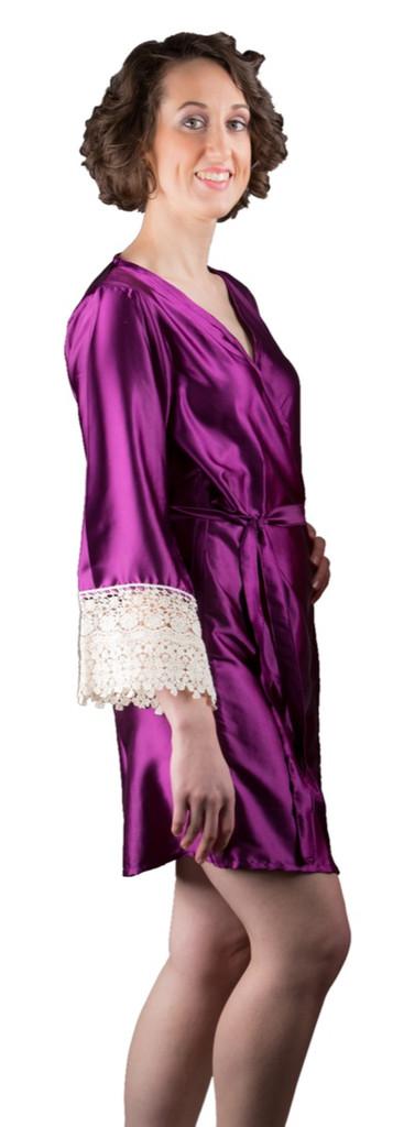 Purple Silk Lace Bridesmaids Robe