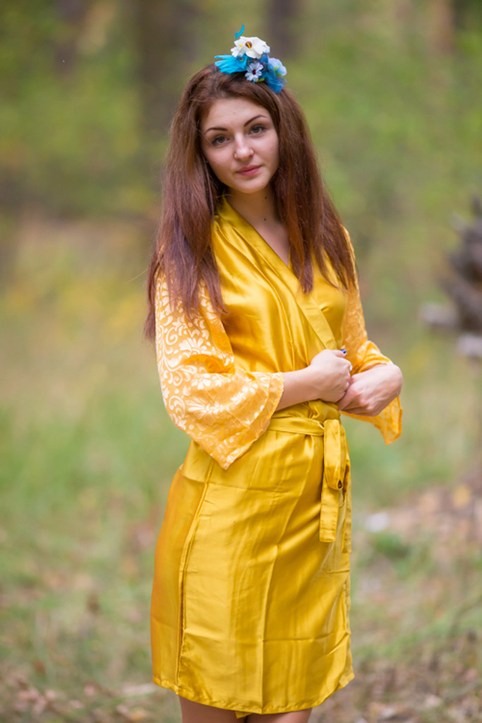 Gold Luxurious Silk Robe with Silk Chiffon Devore Sleeves