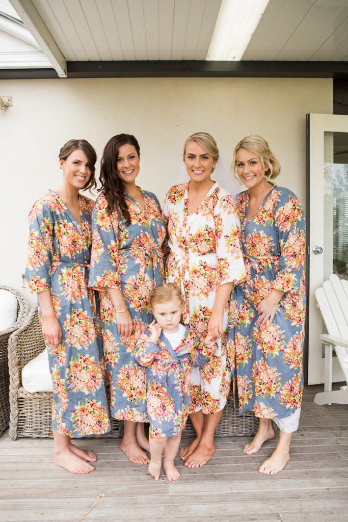 Gray Floral Posy Robes for bridesmaids | Getting Ready Bridal Robes