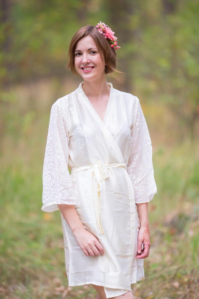 Off-White Luxurious Silk Robe with Silk Chiffon Devore Sleeves