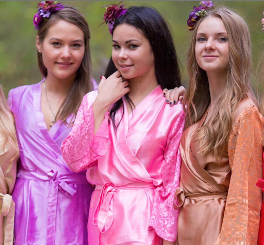 Pink Luxurious Silk Robe with Silk Chiffon Devore Sleeves
