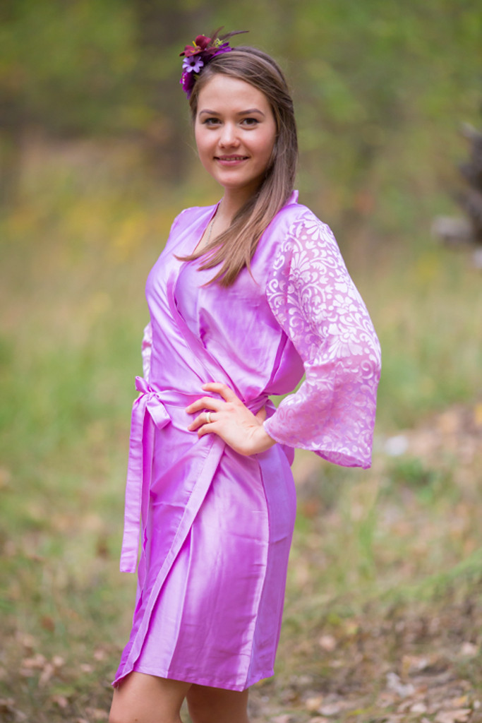 Pinky Lilac Luxurious Silk Robe with Silk Chiffon Devore Sleeves