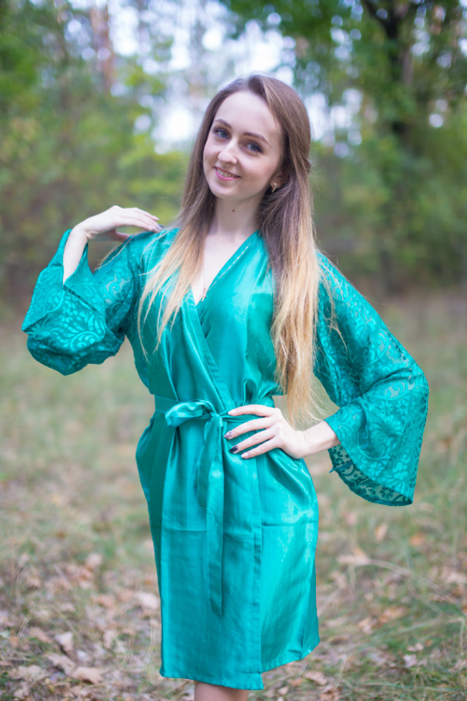 Teal Luxurious Silk Robe with Silk Chiffon Devore Sleeves