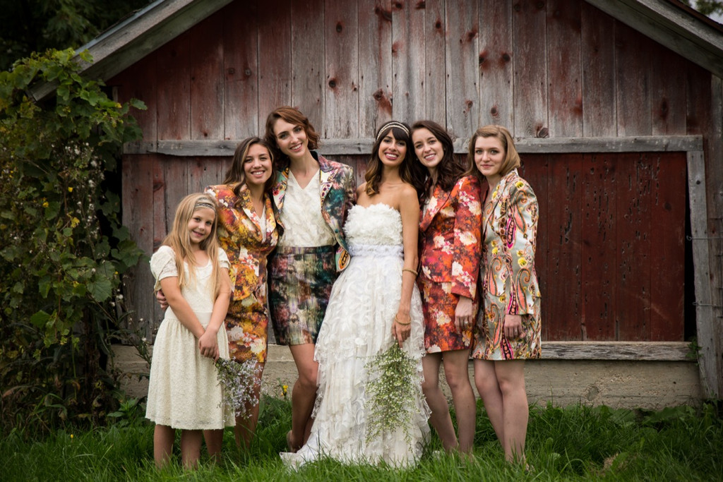 Bridesmaids Floral Suits for a Winter Wedding