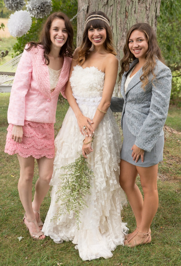 Gracious Gray Bridesmaids Lace Suit for a Winter Wedding