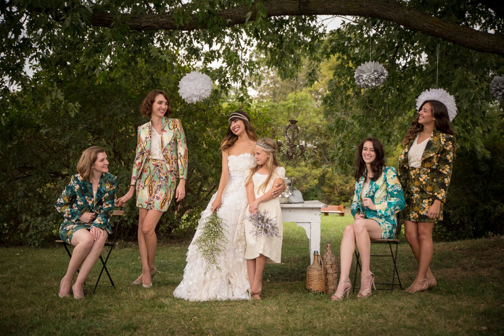 Bridesmaids Floral Suits for a Rustic Winter Wedding