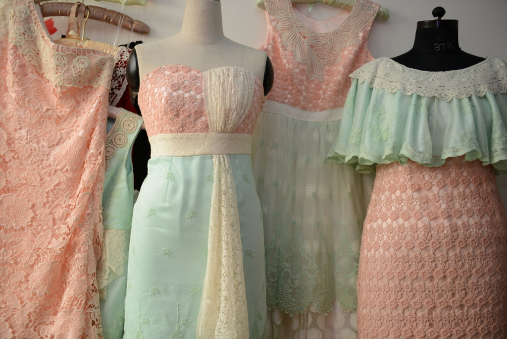 Dreamy Mint Peach Wedding Palette Lace Bridesmaids Dresses