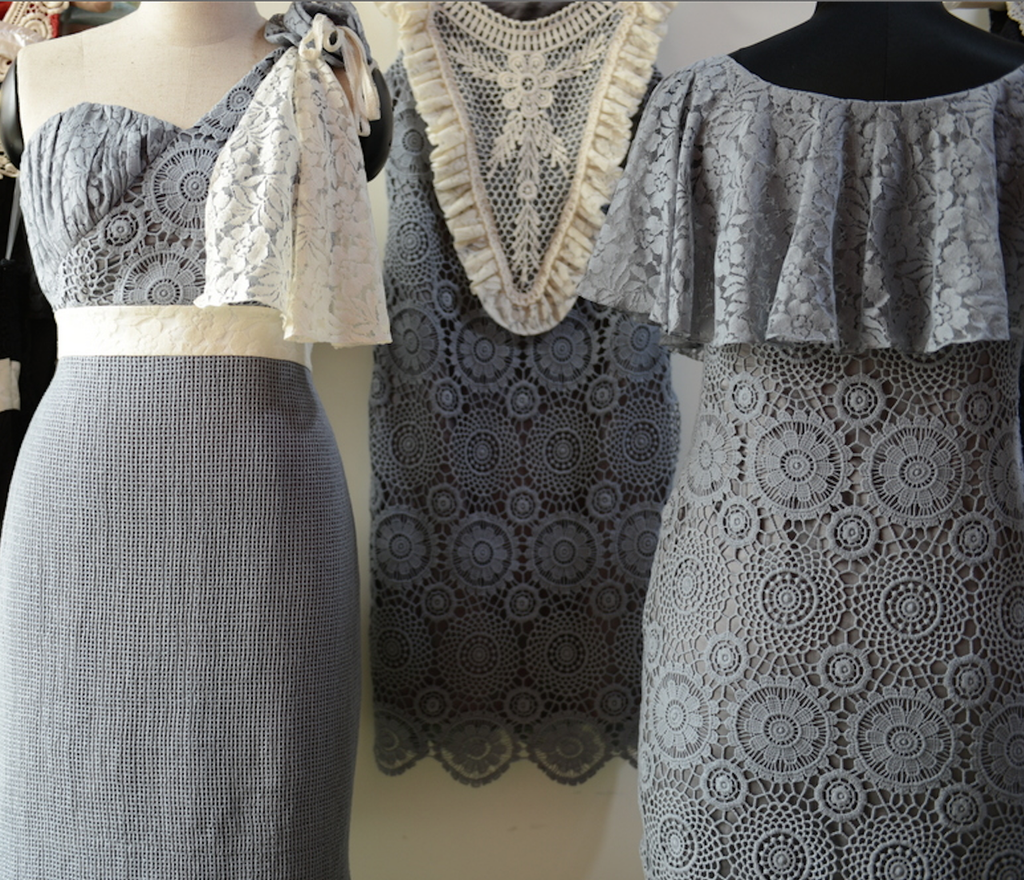 Dreamy Gray Wedding Palette Lace Bridesmaids Dresses