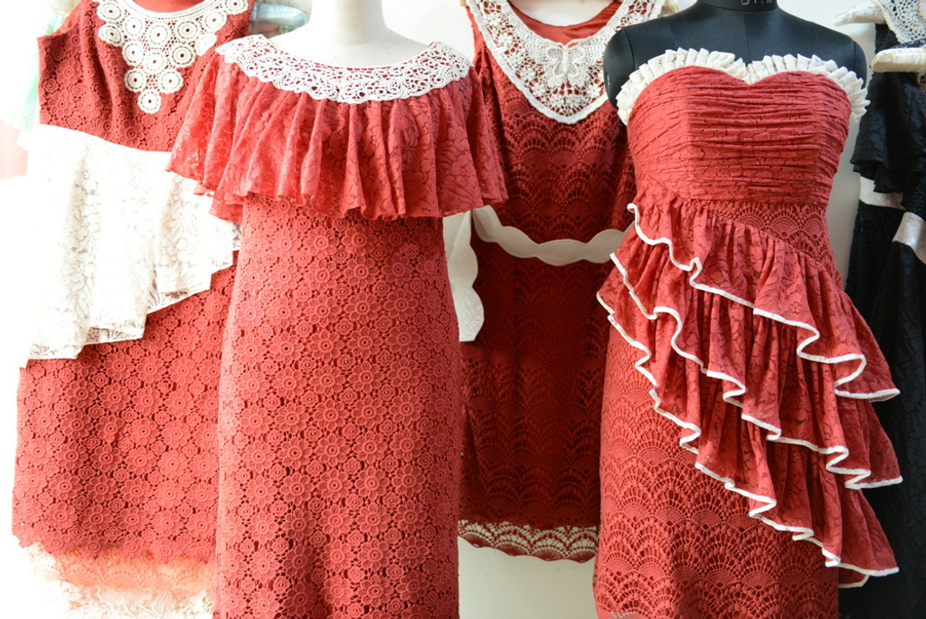 Dreamy Red Wedding Palette Lace Bridesmaids Dresses