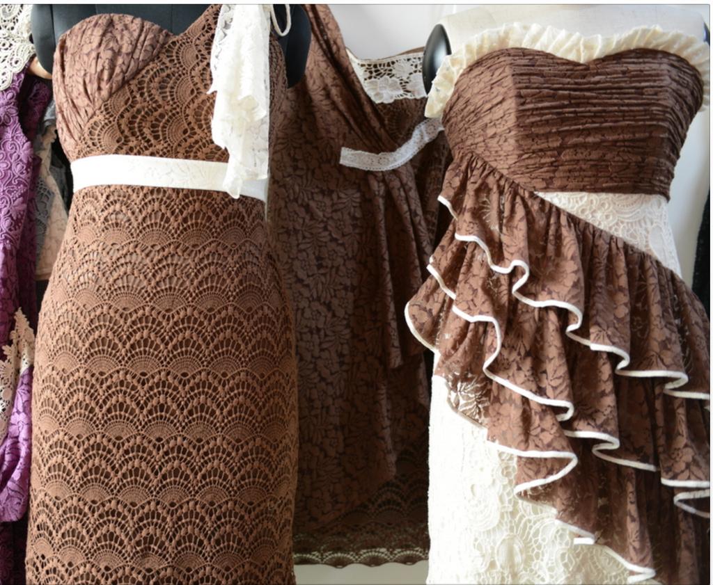 Dreamy Brown Wedding Palette Lace Bridesmaids Dresses