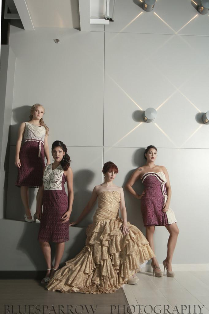 Dreamy Purple Haute Couture Wedding Palette Lace Bridesmaids Dresses