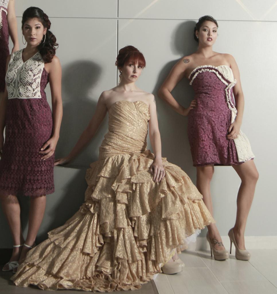 Dreamy Eggplant Haute Couture Wedding Palette Lace Bridesmaids Dresses