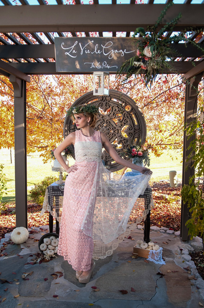 Charming Peach Haute Couture Lace Dress