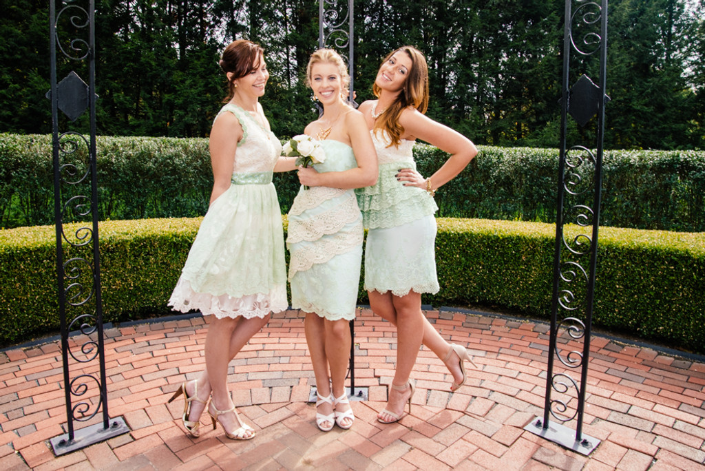 Lacey Mint Wedding Palette Lace Bridesmaids Dresses