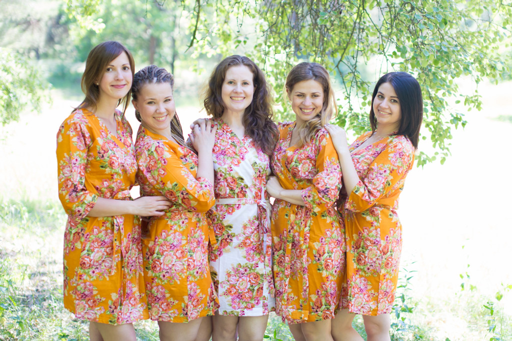 Mustard Robes for bridesmaids | Getting Ready Bridal Robes