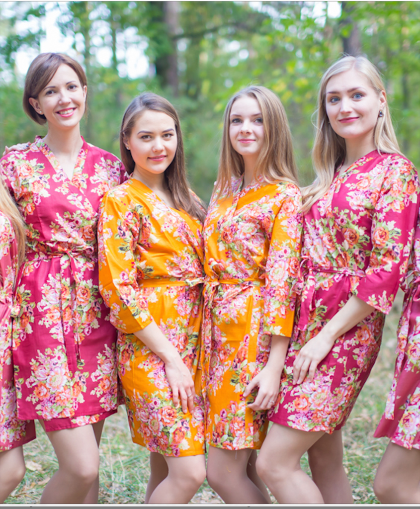 Mustard Gold Floral Posy Robes for bridesmaids | Getting Ready Bridal Robes