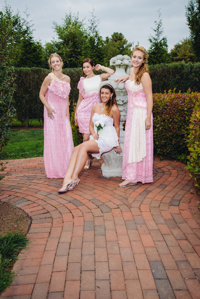 Pink in Pink Wedding Palette Lace Bridesmaids Dresses