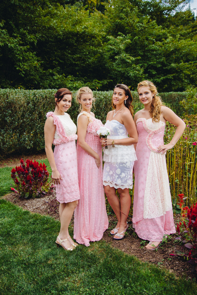Pretty in Pink Wedding Palette Lace Bridesmaids Dresses