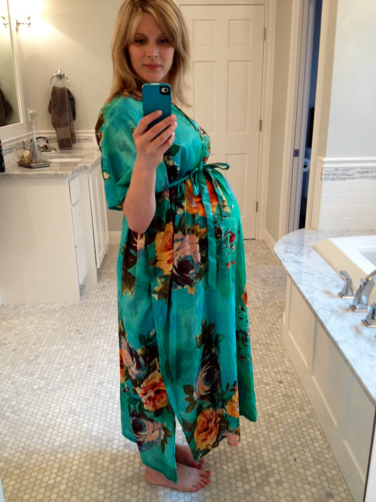 Aqua Large Floral Blossom Labor and Delivery Gown