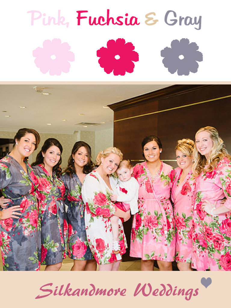 Gray and Deep Pink Wedding Color Robes