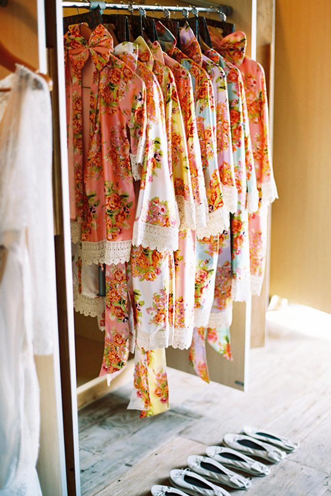 Silk Floral Lace Trim Robes