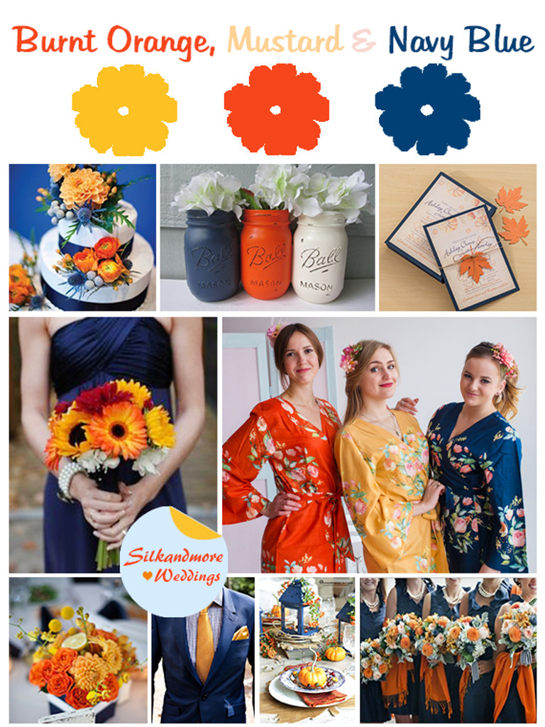 Mustard, Burnt Orange and Navy Blue Wedding Colors