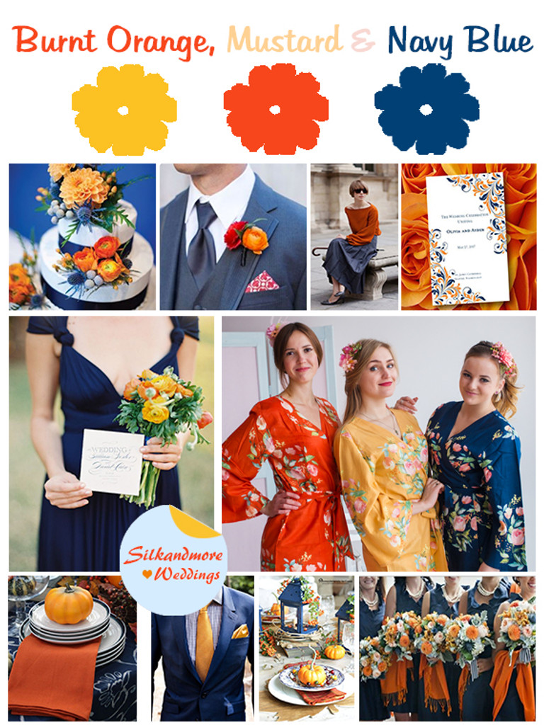 Mustard, Burnt Orange and Navy Blue Wedding Color Palette