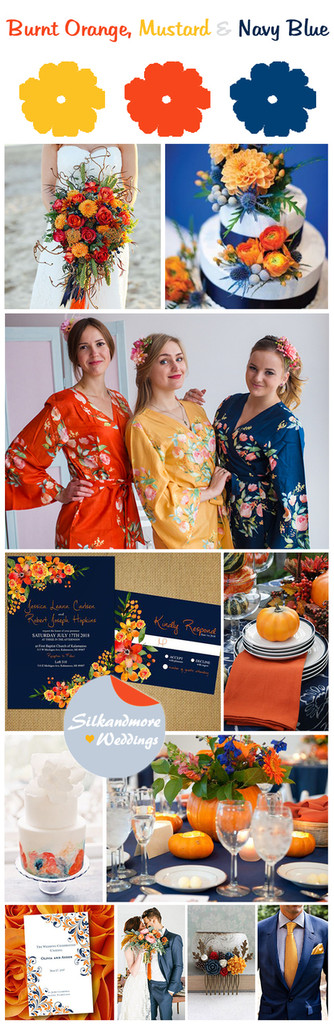 Mustard, Burnt Orange and Navy Blue Wedding Color Scheme