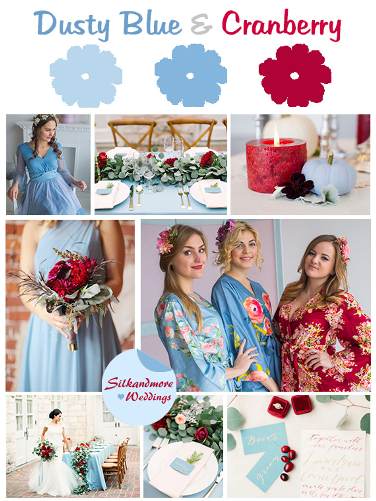 Dusty Blue and Cranberry Wedding Colors