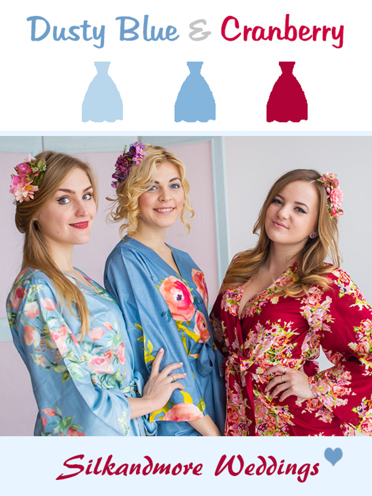 Dusty Blue and Cranberry Wedding Color Robes - Premium Rayon Collection