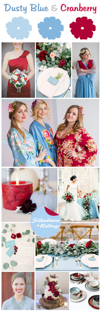 Dusty Blue and Cranberry Wedding Color Scheme