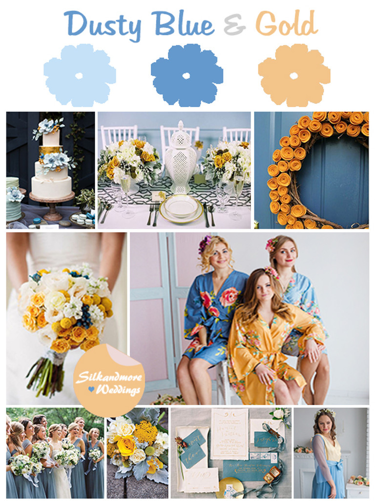 Dusty Blue and Gold Wedding Colors
