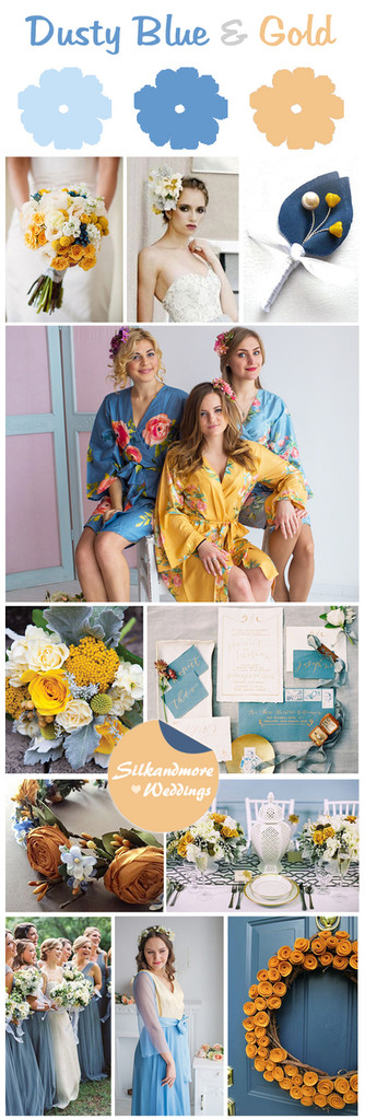 Dusty Blue and Gold Wedding Color Palette