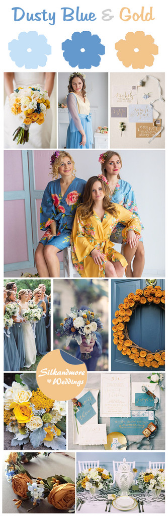 Dusty Blue and Gold Wedding Color Theme