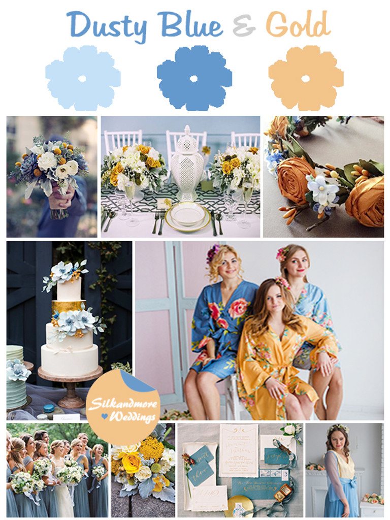 Dusty Blue and Gold Wedding Color Scheme