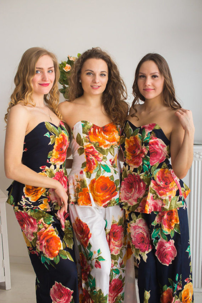 Strapless Style PJs in Large Floral Blossom Pattern_full length