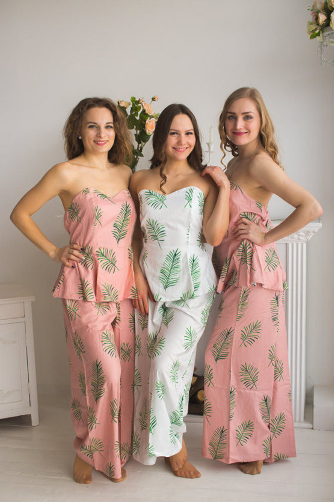 Strapless Style PJs in Tropical Delight Palm Leaves Pattern_Full Length