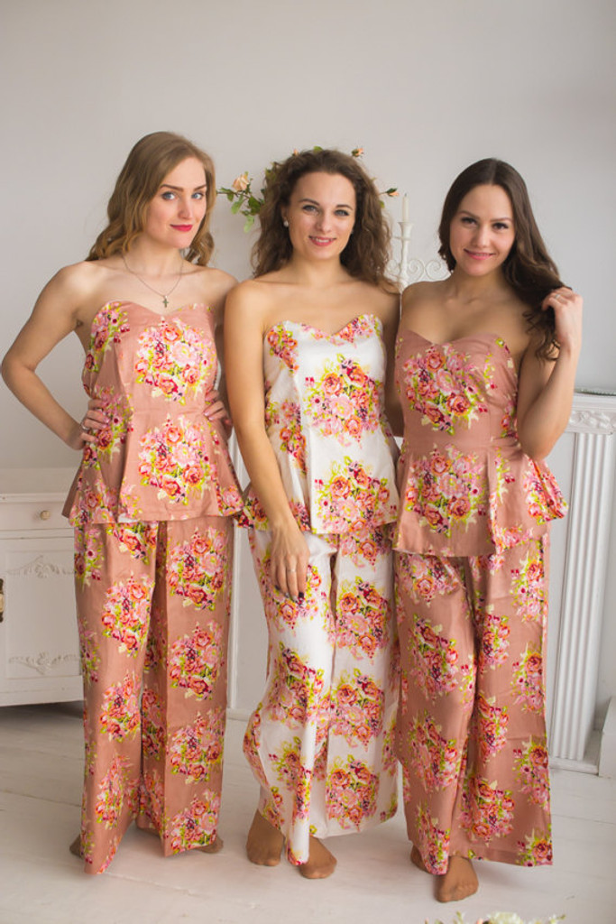 Strapless Style PJs in Floral Posy Pattern _Full Length