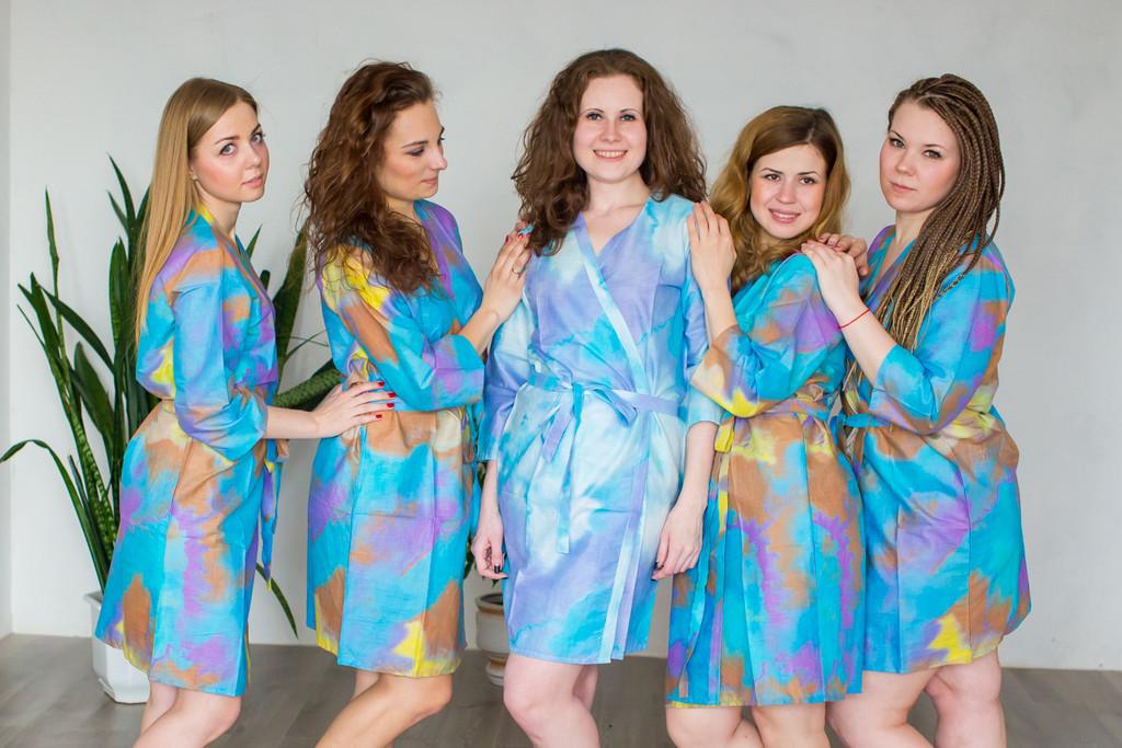 Blue Batik Watercolor Robes for bridesmaids | Getting Ready Bridal Robes