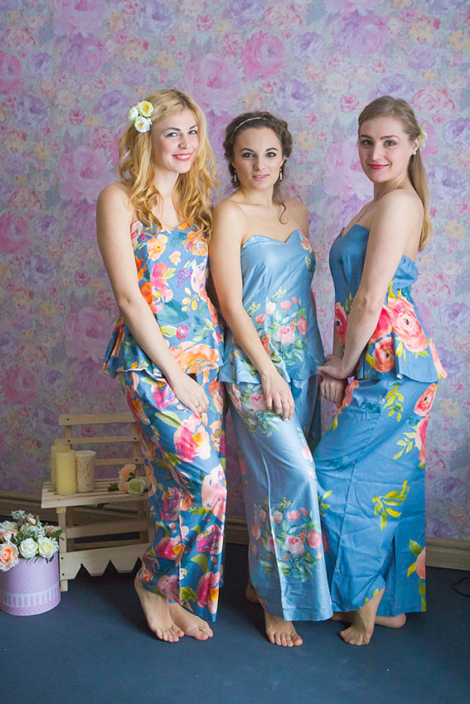 Dusty Blue and Powder Blue Wedding Color Pj Sets in Strapless Style_FULL LENGTH