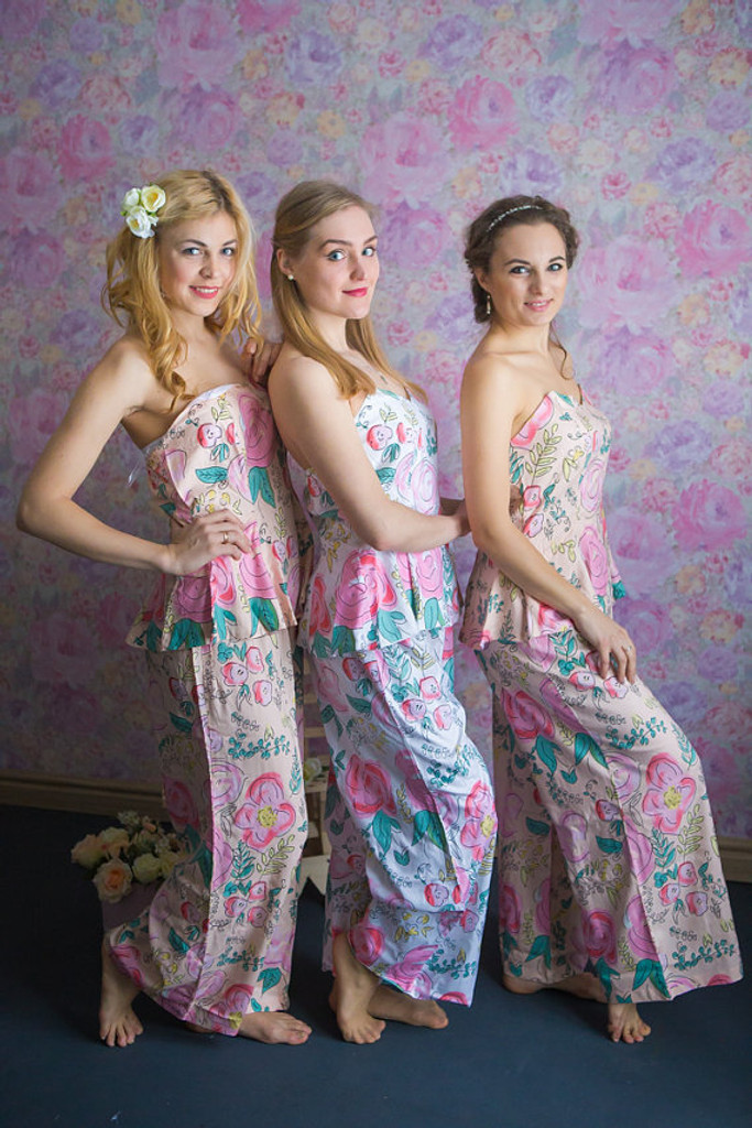 Strapless Style PJs in Whimsical Giggles Pattern_Full length