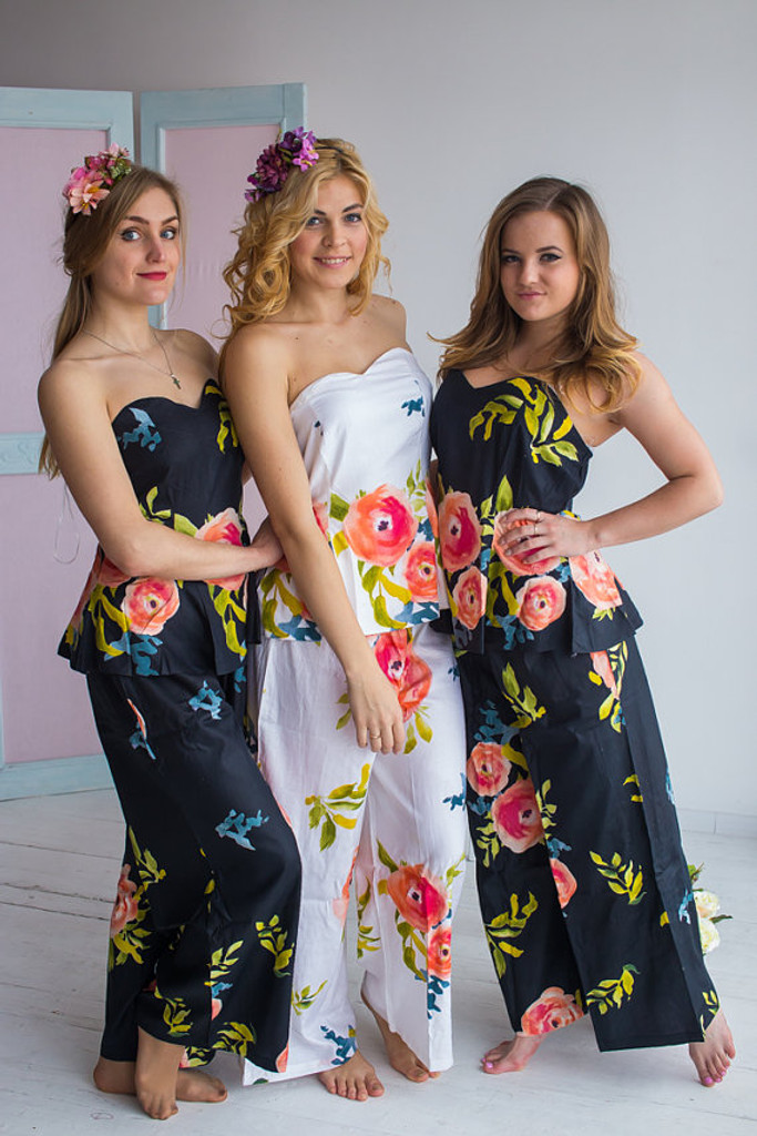 Strapless Style PJs in Smiling Blooms Pattern_full length