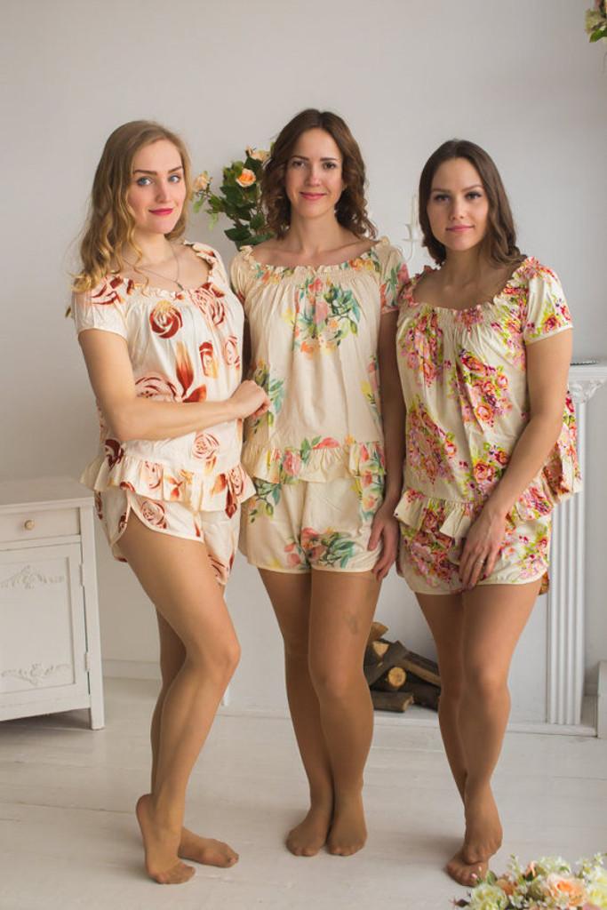 Nude Wedding Color PJs in Off-Shoulder Style