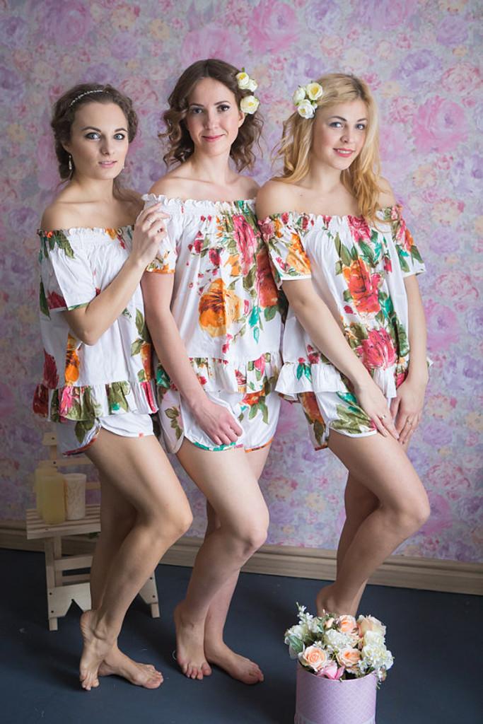 Off-Shoulder Style PJs in Large Floral Blossom Pattern