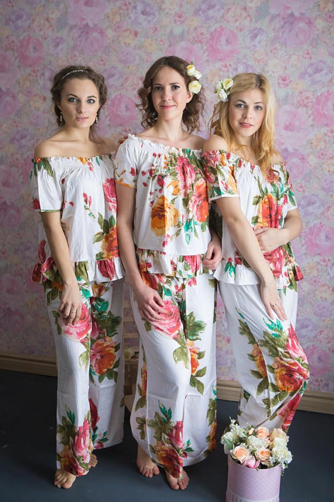 Off-Shoulder Style PJs in Large Floral Blossom Pattern_full length