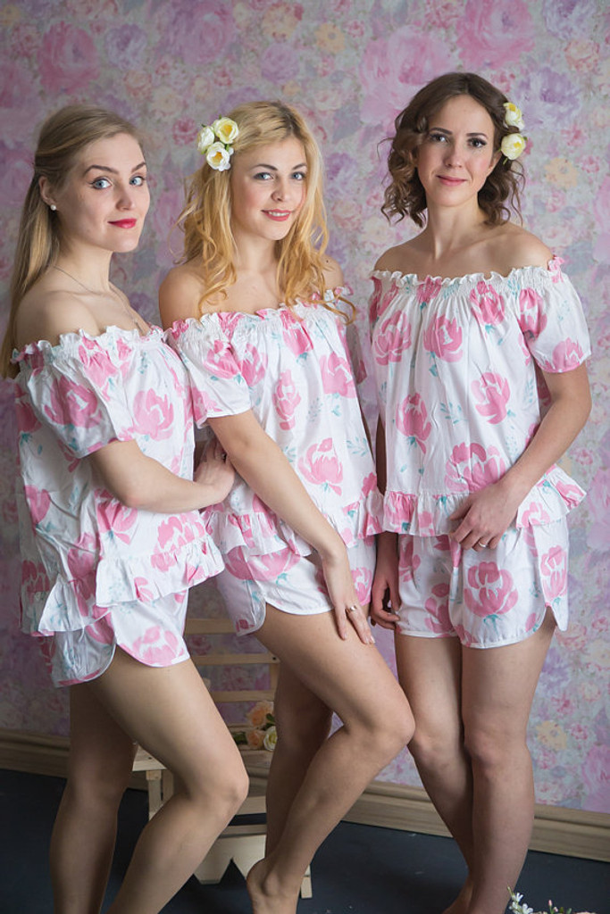 Off-Shoulder Style PJs in Blushing Flowers Pattern