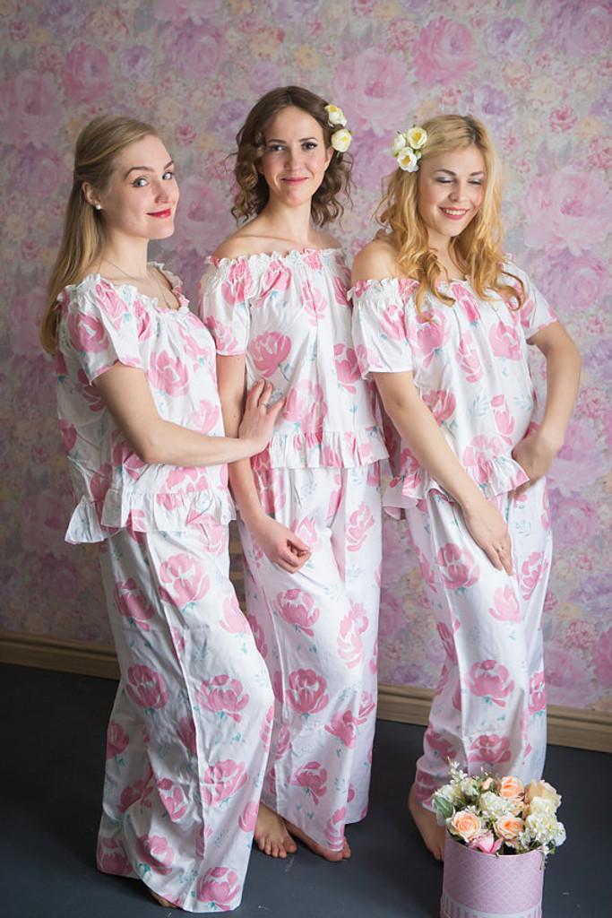 Off-Shoulder Style Pj Sets in Blushing Flowers Pattern_full length