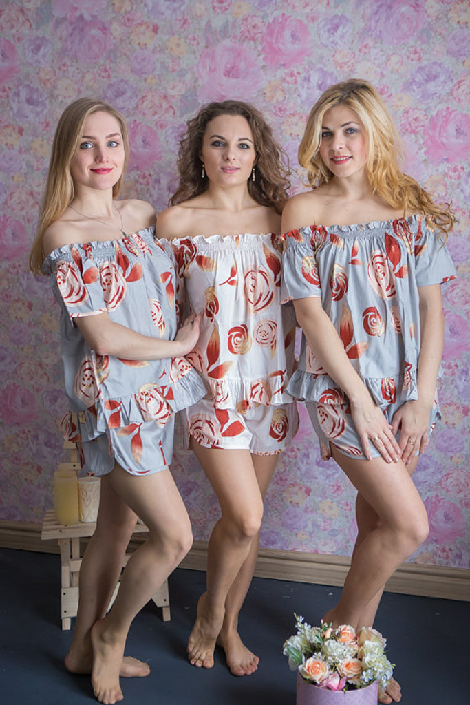 Off-Shoulder Style PJs in a rumor among fairies Pattern