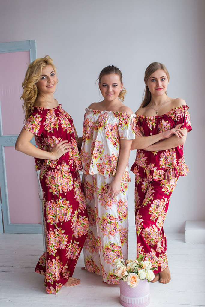 Off-Shoulder Style PJs in Floral Posy Pattern_Full length